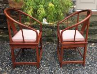 Chinese Ming style horse shoe back chairs c1960