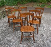 Six maple Hitchcock chairs c1950