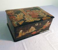 Japanese lacquer scenic painted box c1860