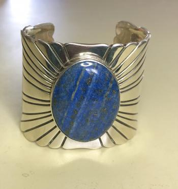 Image of Sterling silver and lapis cuff bracelet