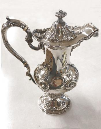 Image of J E Caldwell Co sterling silver chocolate pot