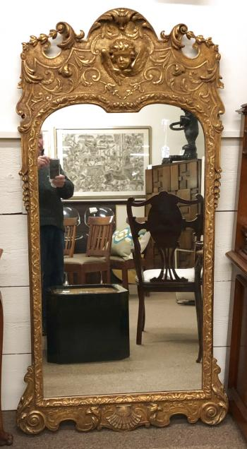 Image of Antique Continental gold leaf mirror c1900