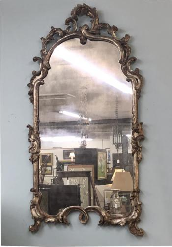 Image of Vintage French carved silver leaf mirror