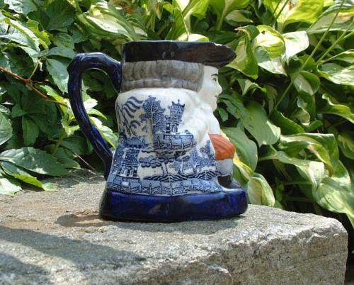 Antique English Blue Willow Toby Jug