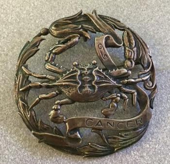 Image of Peruzzi sterling silver cancer brooch