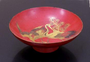Image of Japanese red lacquer wedding dish with cranes
