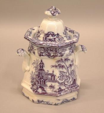 Image of Staffordshire mulberry ironstone Gothic panel sugar pot c1850