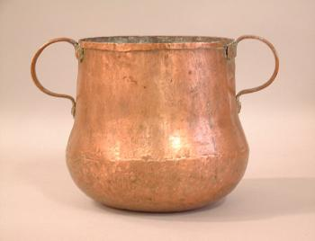 Image of Early copper storage container with double handles c1700 to 1780