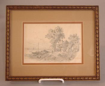 Image of European pencil drawing of harbor and country side c1840