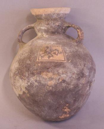Image of Pre Columbian pottery storage vessel with cougar