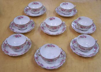 Image of Limoges porcelain consomme cups and saucers