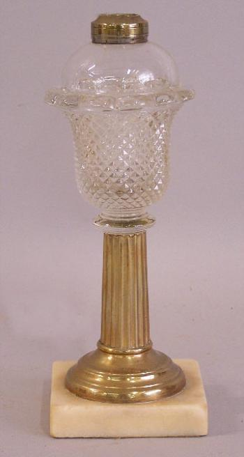 Image of America pressed glass saw tooth brass and marble kerosene lamp