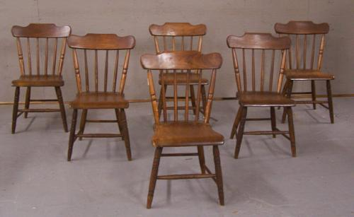 Antique set of 6 pine plank seat chairs Pennsylvania circa 1830