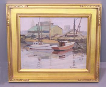 Image of Carl Schmidt oil painting on canvas boats in a harbor titled Ahoy Day