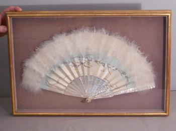 Image of China Trade hand painted ostrich feather hand fan