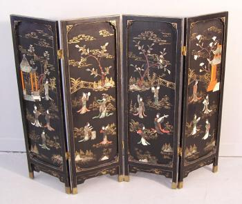 Image of Chinese black lacquered 4 panel hinged ooted screen