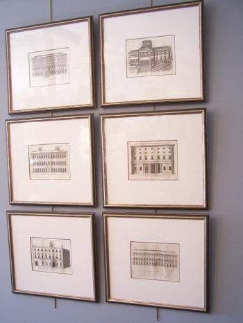 Image of 18thc architectural engravings of Italian Palazzo facades