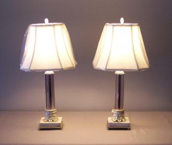Image of Pair French lilac color crystal column lamps c1910