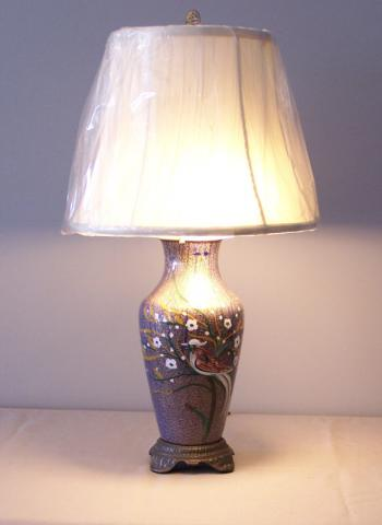 Image of 19th c. French enameled vase, mounted as a lamp c1870