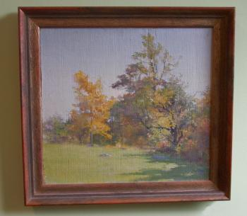 Image of Fannie C Burr oil painting trees on the edge of a field c1880