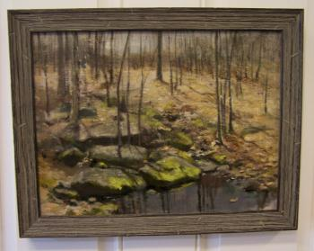 Image of Fannie C Burr oil painting of trees alongside a brook c1880