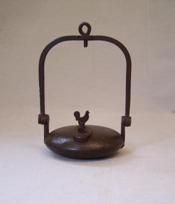 Image of French iron miners whale oil lamp Clozet S Etienne